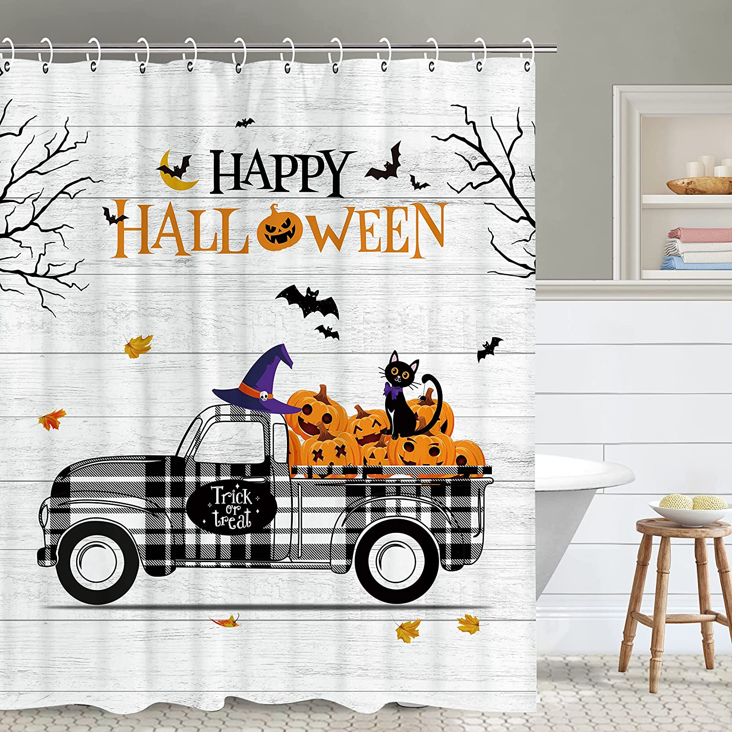 Fall Shower Max 83% OFF Curtain Happy discount S Halloween