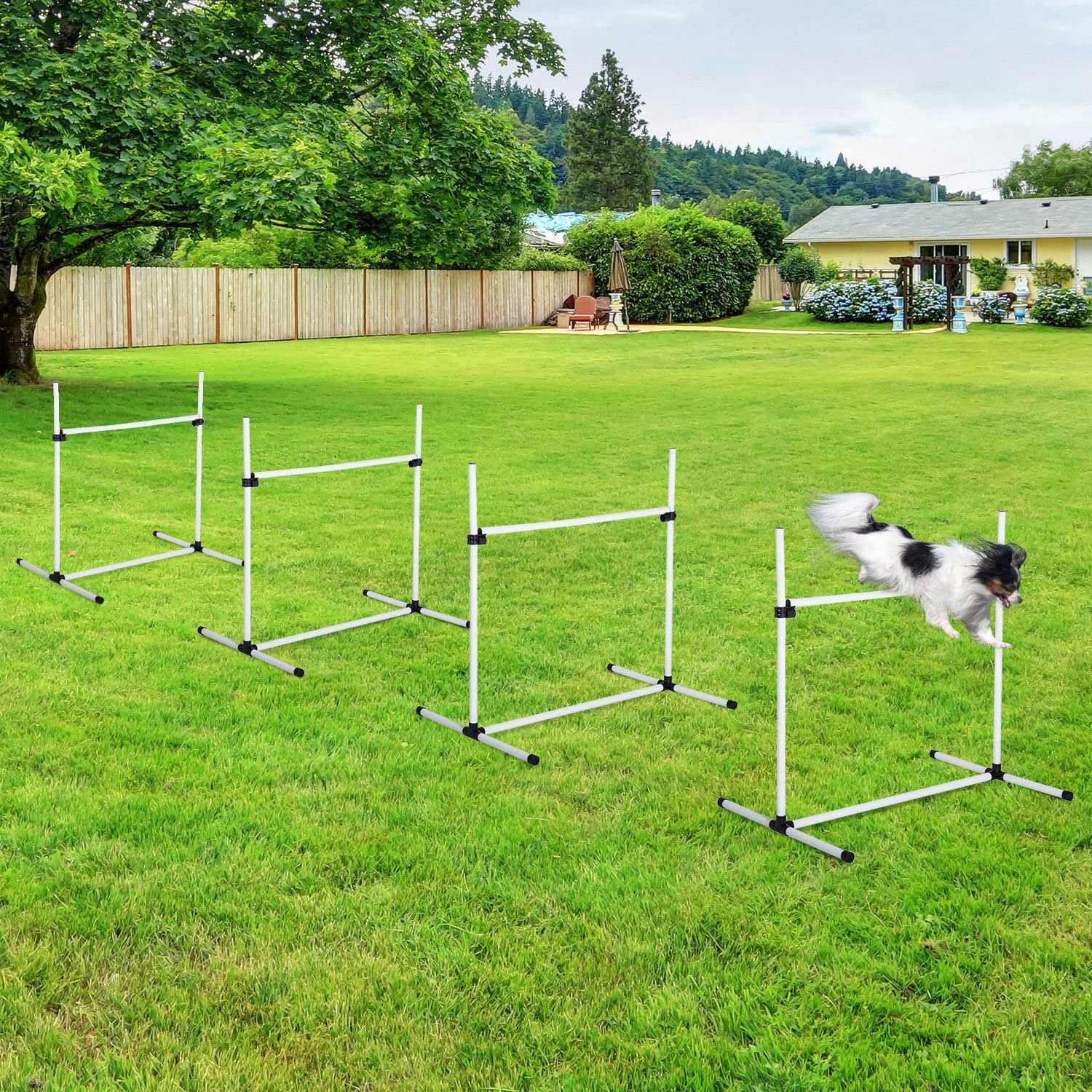 GraceShop White Pet Dog Agility Manufacturer direct delivery Outd Jump Limited time trial price Training Equipment Set