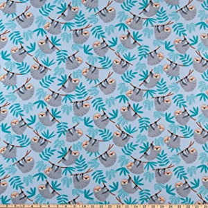 Windham Fabrics Cubby Bear Flannel Baby Sloth Soft Blue Fabric,