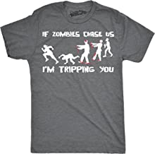 Crazy Dog T-Shirts Mens If Zombies Chase Us I'm Tripping You Funny Halloween Undead Tshirt for Guys