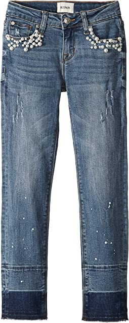 Ankle Skinny with Paint Splatter & Pearl Studs in Blue Burner (Big Kids)