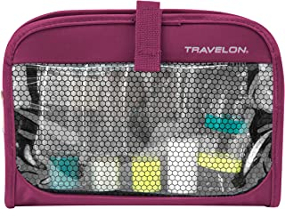 Travelon Wet Dry 1 Quart Bag with Plastic Bottles, Berry, One Size