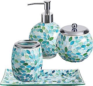 Amazon Com Blue Bathroom Accessory Sets Bathroom Accessories Home Kitchen