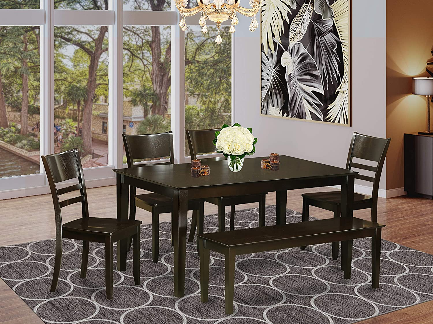 East West Furniture Rectangular Dining Table Set 9 Pc   Wooden Dining  Chairs Seat   Cappuccino Finish Small Rectangular Table and Kitchen Dining  Bench