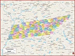 42 x 32 Tennessee State Wall Map Poster with Counties - Classroom Style Map with Durable Lamination - Safe for Use with We...