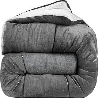Utopia Bedding - All Season Alternative Fleece Comforter - Goose Down Sherpa Comforter Queen - Grey