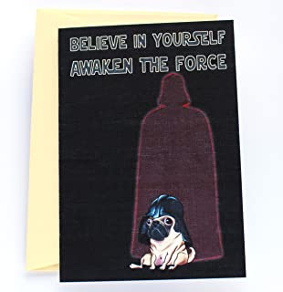 Funny Motivational Card with Pug Dreaming of Darth Vader Fame, Cute Star Wars Parody Encouragement Birthday Card - Folded Greeting Card with Envelope, Blank Inside