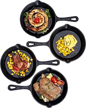 """Pre-Seasoned Cast Iron 4 Piece Skillet Bundle 6"""" (Set of 4) Cast Iron Frying Pans Heavy Duty Professional Chef Tools Indo"""