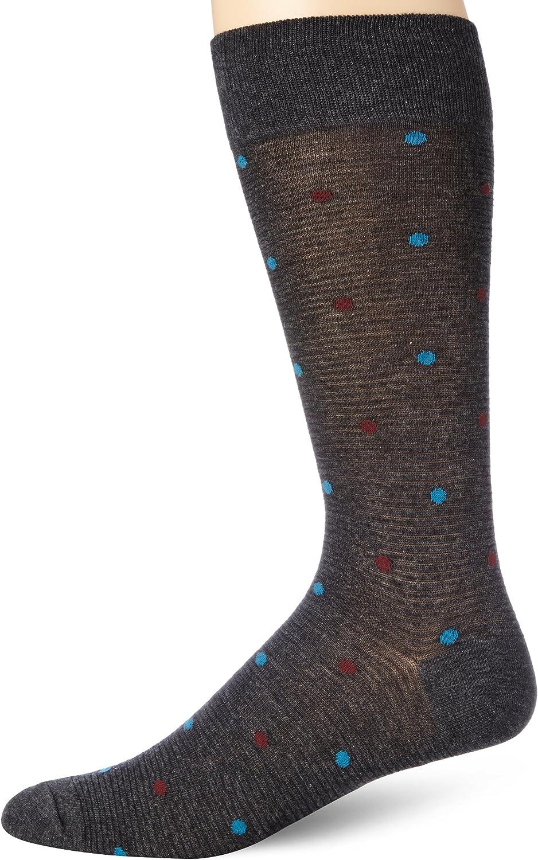 Perry Ellis Men's Stripe with Dot Mercerized Cotton Dress Sock