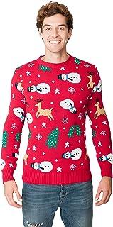 New Camp Ltd Christmas Xmas 2018 Mens Jumper Novelty Fairisle Santa Party Sweater Jumper Womens Unisex RED Snowman Exclusi...