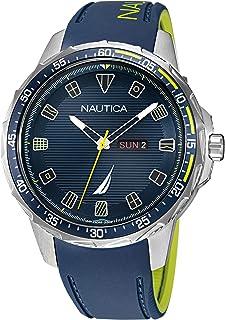 Nautica Men's Stainless Steel Quartz Silicone Strap, Blue, 22 Casual Watch (Model: NAPCLS114)