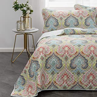 Mohap Bedspread Queen Size Coverlet Set 3 Pieces Printed Pattern Pinsonic Style for All Season Use Super Lightweight and Breathable Machine Washable Queen