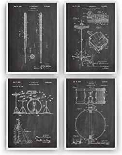 Drummer Patent Prints - Set Of 4 - Vintage Poster Wall Art Drum Posters Gifts For Men Women Drumming Music Room Blueprint Decor - Frame Not Included