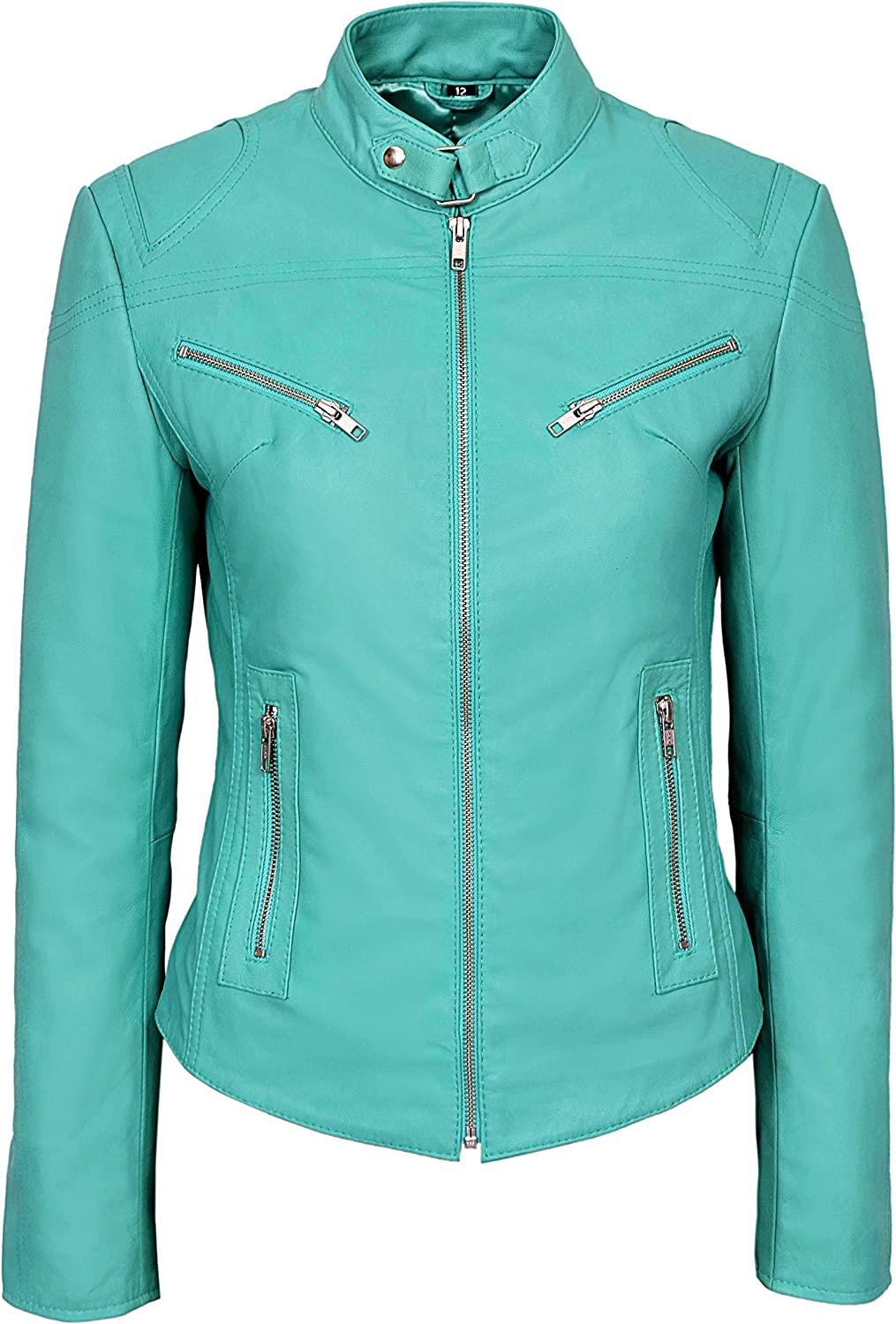 SPEED' Ladies TURQUOISE Cool Retro Biker Style Fitted Motorcycle Leather Jacket