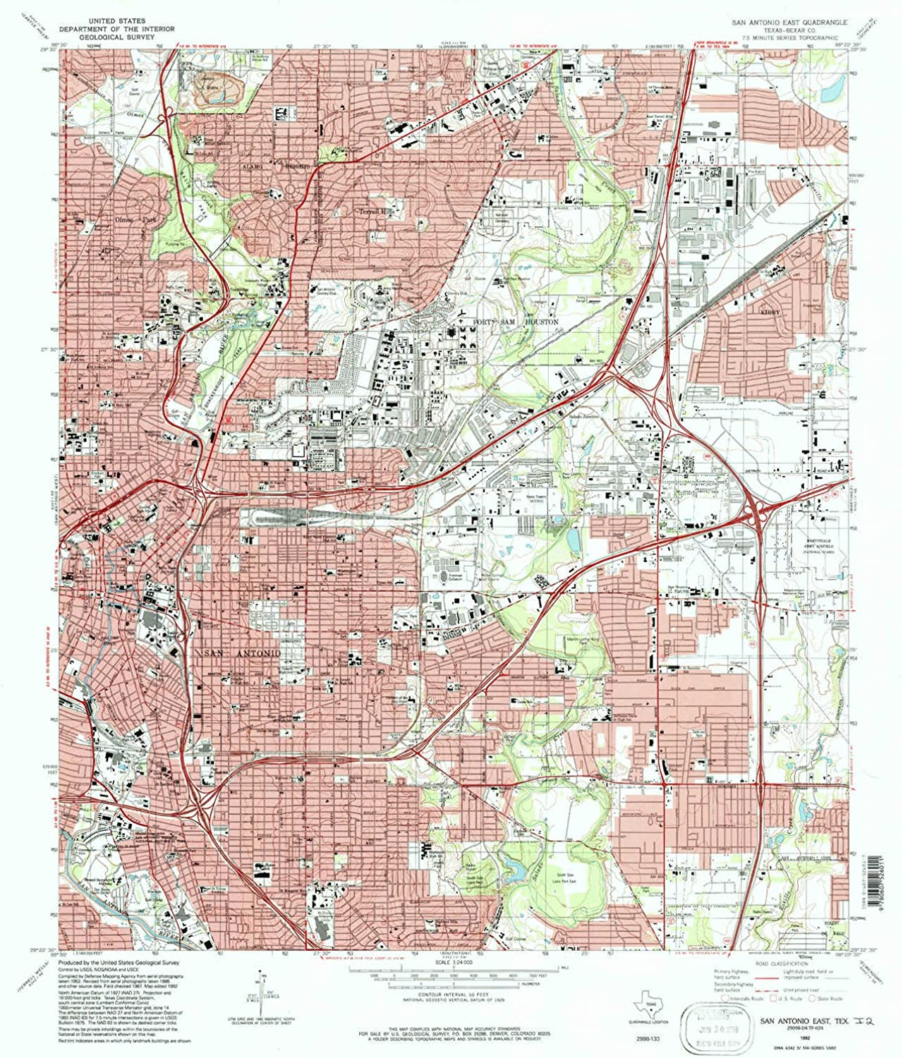 San Antonio East TX topo map, 1 24000 Scale, 7.5 X 7.5 Minute, Historical, 1992, Updated 1992, 27.1 x 23.2 in