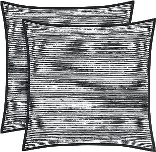Five Queens Court Felix 100% Brushed Cotton Euro Pillow Sham, Black/White