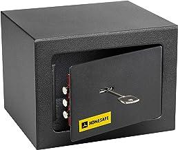 HomeSafe HV15K Coffre-Fort avec Serrure de Qualité Supérieure à Clé, 15x20x17cm (HxWxD), Satin Noir