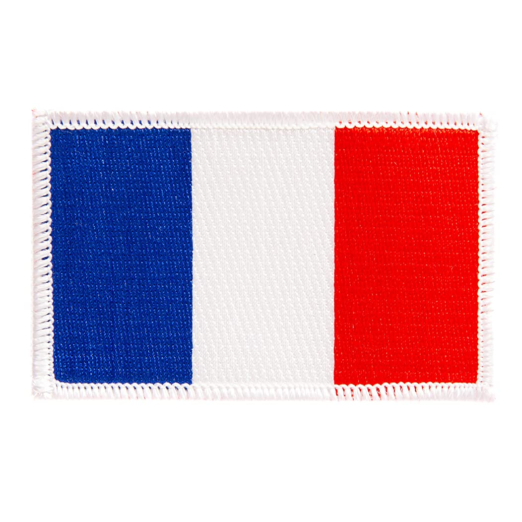 France Flag Patch Single 3.5Wx2.25H Iron On Sew Embroidered Tactical Morale Back Pack Hat Bags (Single Patch)