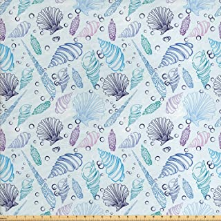 Ambesonne Nautical Fabric by The Yard, Various Sea Shell Pattern Underwater Bubbles Ocean Maritime Print, Decorative Fabric for Upholstery and Home Accents, 1 Yard, Indigo Purple