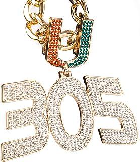 ميامي هوريكينز سلسلة 305 - قلادة مطلية بالذهب 18 قيراط - هدية مجوهرات رياضية للرجال والنساء - مثالية للمشجعين والمؤيدين