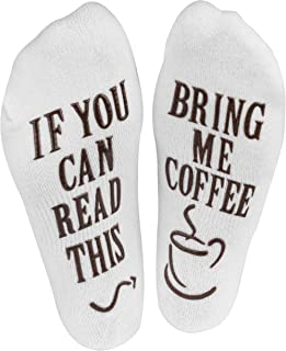 """If You Can Read This, Bring Me."" (Wine, Chocolate, Coffee) Footie Socks in Luxurious Combed Cotton for Women and Men – the Perfect Gift for Christmas, Birthdays, or Holidays (Coffee)"