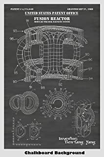 Tokamak Fusion Reactor Patent Print Art Poster: Choose From Multiple Size and Background Color Options