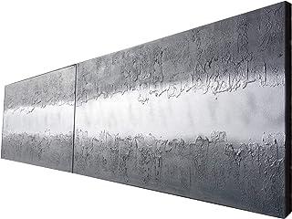 acciaio e argento Astratto A473 - dittico con texture industriale, opere d'arte originali, dipinti astratti con texture de...