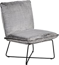 Elle Decor Bennie Accent Chair Armless Lounge, Gray Faux Fur