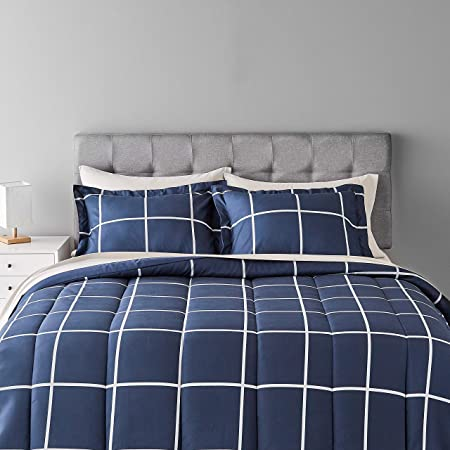 Amazon Basics Full/Queen 7-Piece Light-Weight Microfiber Bed-in-a-Bag Comforter Bedding Set - Navy with grey Plaid