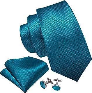 Barry.Wang Paisley Cravate pour Hommes Floral Attacher Poche Carr/é Boutons de manchette Ensemble Designer