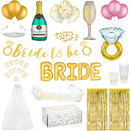 Veil and Rosette Handmade Bachelorette Bridal Shower Bride Pin Bride to be Bride to be Package Hen Party Gold Glitter