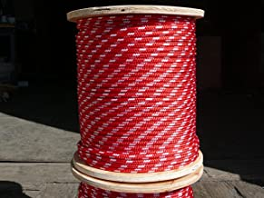 """Sailboat Rigging Rope 5/16"""" x 100` Red/White Double Braided Polyester Dacron Sheet Halyard Line"""