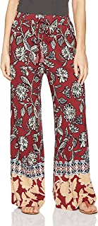 Angie Women's Print Wide Leg Pant with Tassel