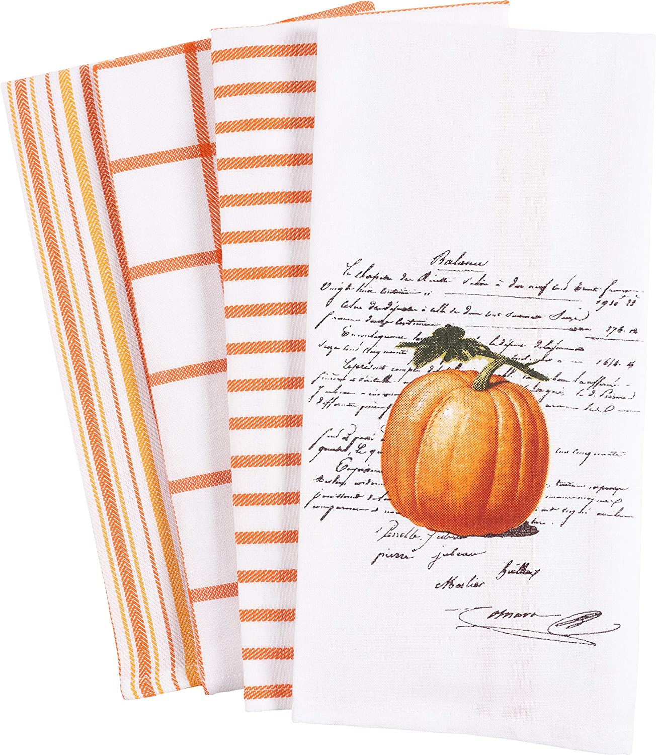 KAF Home Pantry Kitchen Holiday Dish Towel Set of 4, 100-Percent Cotton, 18 x 28-inch (Pumpkin Words)