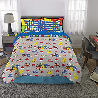 Franco Kids Bedding Super Soft Comforter and Sheet Set with Bonus Sham, 7 Piece Full Size, Pokemon
