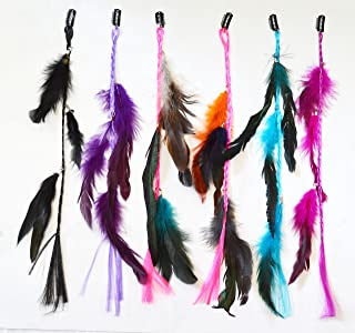 OPT. Bundle 6 Pieces of 15 Inches Multi-Colors Party Highlights Colorful Clip On In Feather Hair Extensions, 100% Real Rooster Feathers. From New York.