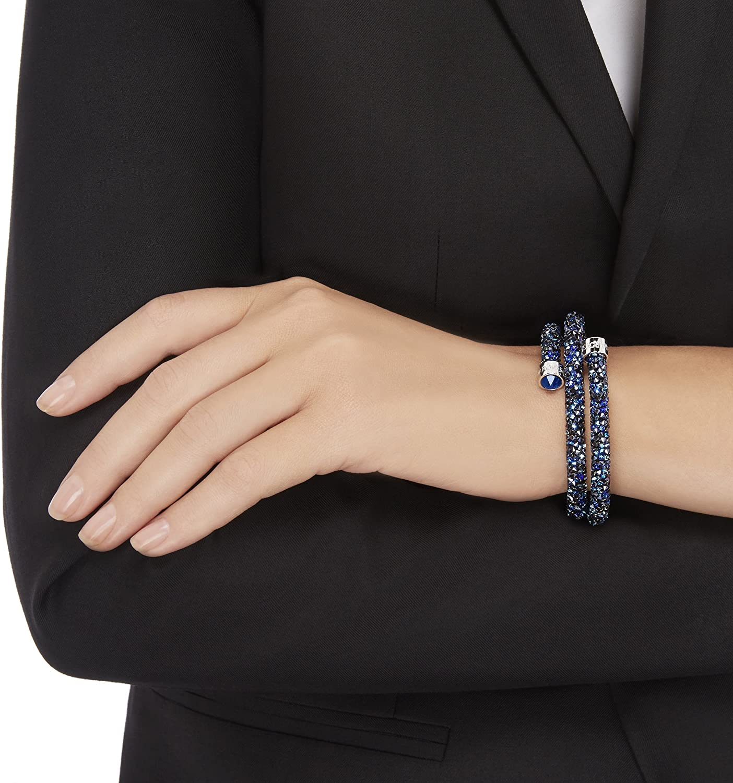 Swarovski Bracelet-jonc Crystaldust Double, bleu: Amazon.fr: Bijoux