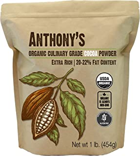 Anthony's Organic Culinary Grade Cocoa Powder, 1lb, Dutch Processed Baking Cocoa, Gluten Free, Non GMO, Keto Friendly