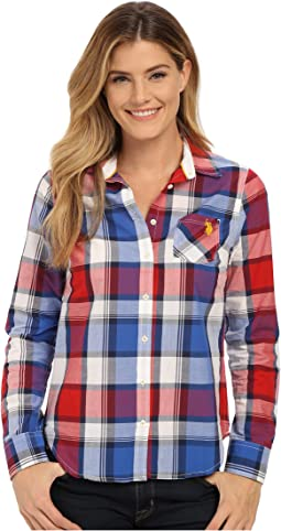 Plaid Poplin Single Pocket Woven Shirt