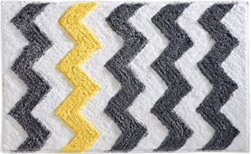 InterDesign Microfiber Chevron Bathroom Shower Accent Rug, 34 x 21, Gray/Yellow