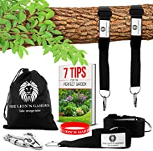 Adjustable 5-10ft Premium Tree Swing Straps Hanging Kit - The Lion's Garden Tree Swing Straps Hanging Kit Holds 3876 LBS With 2 Heavy Duty Carabiners - Perfect For Swings & Hammocks