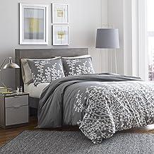 City Scene Branches Gray Cotton Comforter Set, Twin