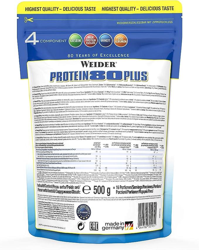 Weider Protein 80 Plus, Proteina de suero de suero de leche, Sabor Chocolate, 2000 gr