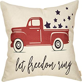 Fahrendom Happy July 4th Farmhouse Home Décor Let Freedom Ring Patriotic Decorative Throw Pillow Cover Vintage Red Truck with Stars Sign Decoration Cotton Linen Cushion Case for Sofa Couch 18 x 18 in