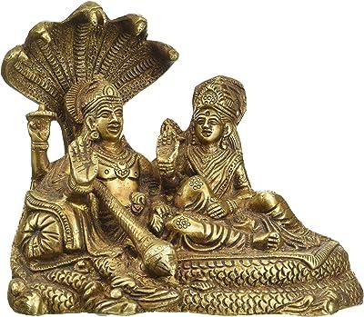 Indian Shelf Multicolor Decorative Vishnu Laxmi Indian Sculpture