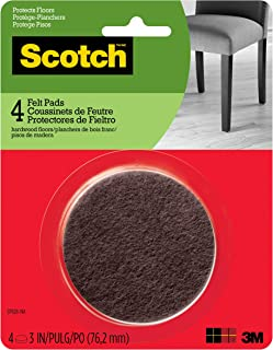 Scotch Felt Pads, Round, Brown, 3-Inch Diameter, 4 Pads/Pack (SP828-NA)