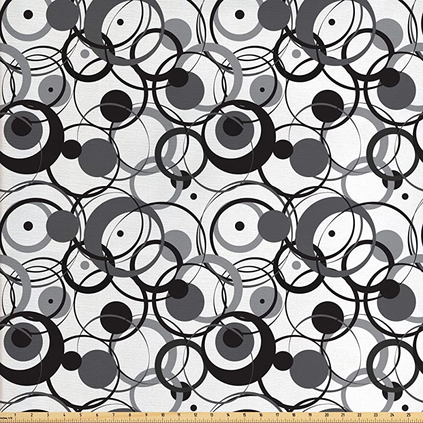 Ambesonne Abstract Fabric by The Yard, Monochrome Circles Dots Surreal Expressionism Inspired Geometric Modern Art, Decorative Fabric for Upholstery and Home Accents, 1 Yard, Grey Black White