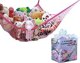 MiniOwls Toy Storage Hammock Plush Toy Organizer for Kids – Fits 20-30 Soft Teddies, Girl's Bed or Playroom Decor (Pink, L...