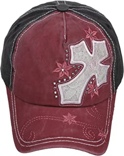 2654ceb41e8 Pit Bull Pigment Wash Soft Feeling Worn Out Cross Lace Crystal Baseball Cap
