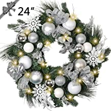 TFWell Christmas Wreath for Front Door, Pre-Lit 24 Inch Silver White Christmas Door Wreath, Lighted Wreath with Artificial Spruce, Berries, Christmas Ball Ornaments, Battery Operated 20 LED Lights